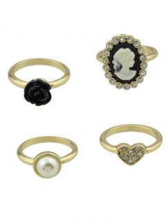 Rhinestone Flower Heart Cameo Ring Set - Golden 8