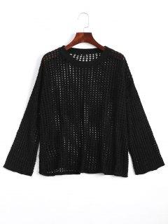 Drop Shoulder Cut Out Knitwear - Black