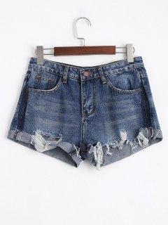 Ripped Cutoffs Denim Shorts - Denim Blue M