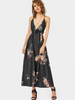 Floral Print Open Back Cami Belted Dress - Floral L
