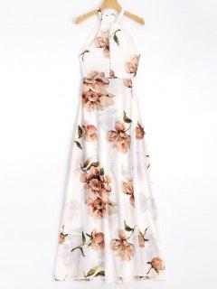 Bowknot Floral Sheer Cut Out Maxi Dress - Floral M