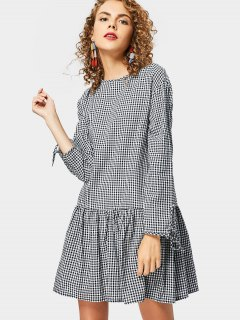 Back Button Embellished Long Sleeve Checked Dress - Checked S