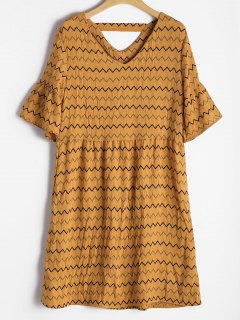 Flare Sleeve Cut Out Zigzag Dress - Earthy M