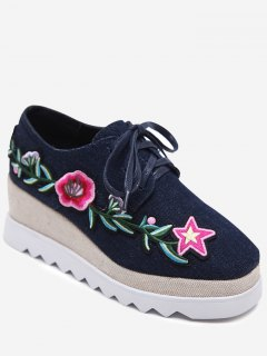 Denim Tie Up Embroidered Wedge Shoes - Deep Blue 38