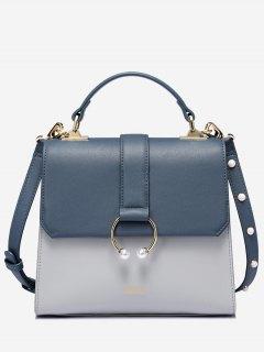 Faux Pearls Metal Ring PU Leather Tote Bag - Steel Blue