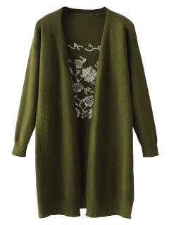 Long Open Front Embroidered Cardigan - Army Green