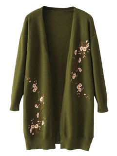 Long Open Front Floral Embroidered Cardigan - Army Green