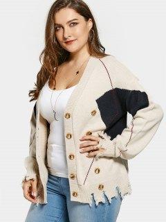 Plus Size Distressed Button Up Cardigan - Khaki