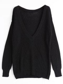 Loose Chunky V Neck Sweater - Black