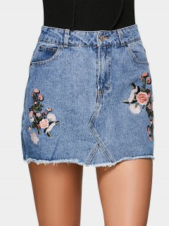 Floral Embroidered Denim A Line Skirt - Denim Blue 36