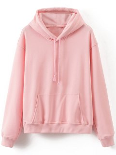 Front Pocket Drop Shoulder Long Hoodie - Pink L