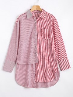 Long Contrasting Stripes Asymmetrical Shirt - Red And White M