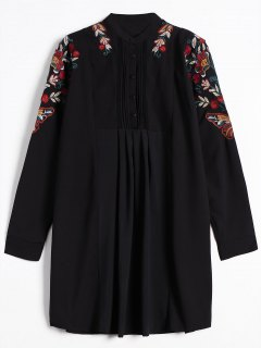 Half Button Embroidered Long Sleeve Dress - Black L