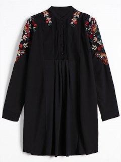 Robe Brodée à Manches Longues - Noir L