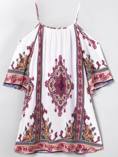 Paisley Printed  Cold Shoulder Beach Dress - Off-white S