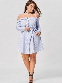 Robe Chemise Grande Taille Rayée Boutonnée Épaules Nues - Bande Bleu 4xl