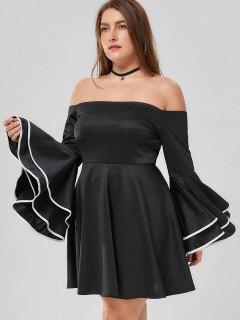 Plus Size Flare Sleeve Off The Shoulder Dress - Black 2xl