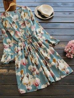Floral Print Button Embellished Drawstring Dress - Floral