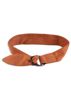 Faux Suede Metal Double Round Buckle Belt - Brown