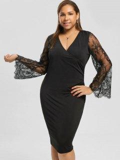 Plus Size Lace Sleeve Pencil Dress - Black 5xl