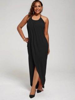 Plus Size Halter High Slit Dress - Black 3xl