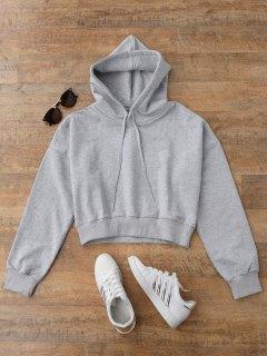 Drop Shoulder Cropped Hoodie - Gray S