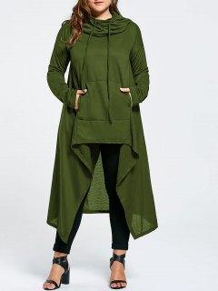 Plus Size Funnel Collar Maxi Asymmetric Hoodie - Army Green 8xl
