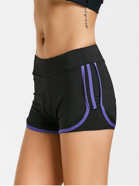 sale Stripe Trim Sports Shorts - PURPLE L Mobile