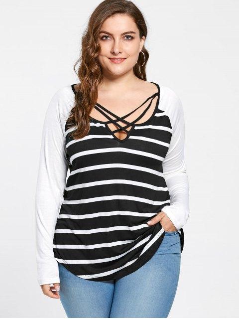 ladies Plus Size Lattice Neck Striped Jersey Top - BLACK WHITE 5XL Mobile