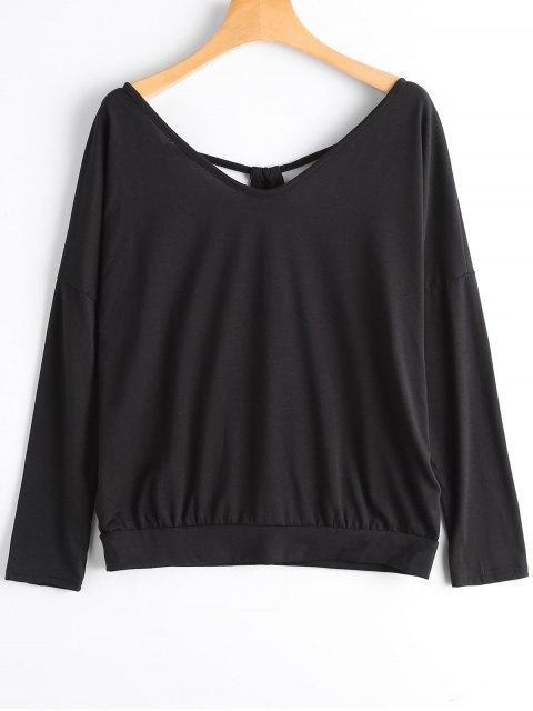 new Cut Out Open Back V Neck T-shirt - BLACK S Mobile
