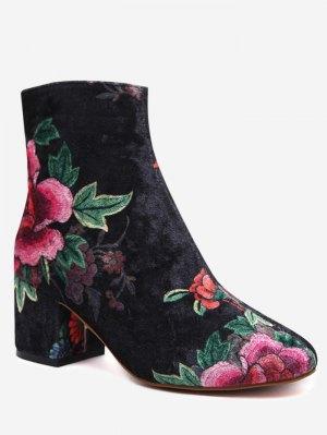 Velvet Block Heel Floral Pattern Short Boots