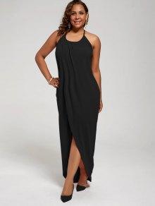 فستان الحجم الكبير عالية الانقسام رسن - أسود Xl