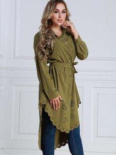 Sheer Longline High Low Shirt - Army Green S