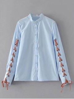 Button Down Lace Up Shirt - Light Blue M