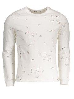 Abstract Print Crew Neck Sweatshirt - White 2xl