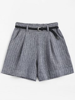 High Waist Belted Striped Shorts - Gray