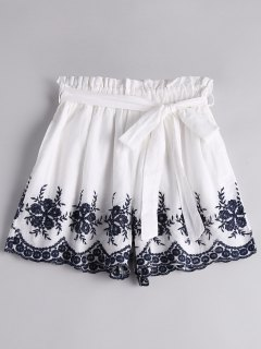 Floral Embroidered High Waist Belted Shorts - White M