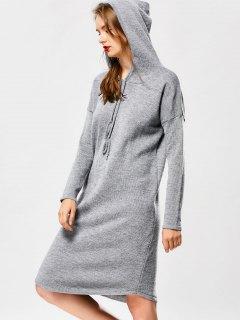 Hooded Drawstring Sweater Dress - Gray