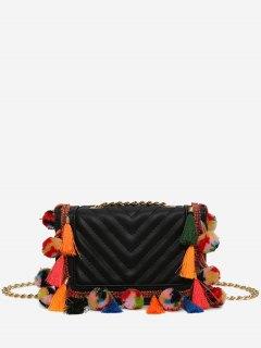 Tassels Stitching Chain Crossbody Bag - Black
