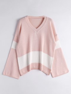 Flare Sleeve Two Tone Sweater - Pink