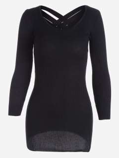 Long Sleeve Ribbed Knitted Dress - Black