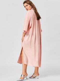 Plus Size Flare Sleeve Shirt Dress - Nude Pink 2xl
