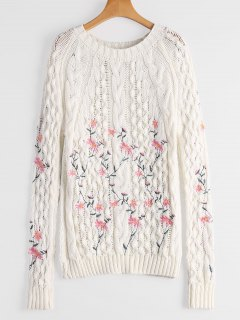 Cable Knitted  Pullover Embroidered Sweater - White