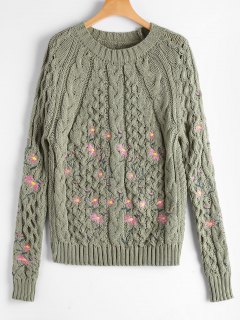 Cable Knitted  Pullover Embroidered Sweater - Light Green