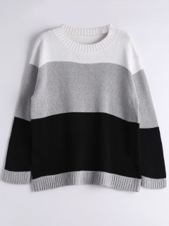Long Sleeve Contrasting Stripes Sweater - Gray