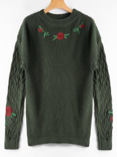 Ribbed Floral Embroidered Cable Knit Sweater - Army Green