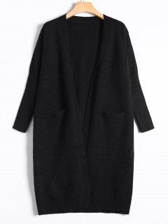 Collarless Long Knitted Cardigan - Black