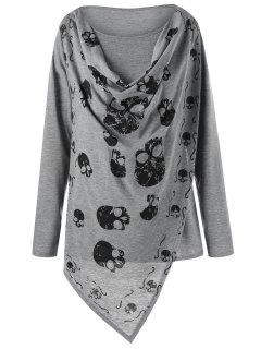 Plus Size Skulls Overlap T-shirt - Gray 5xl