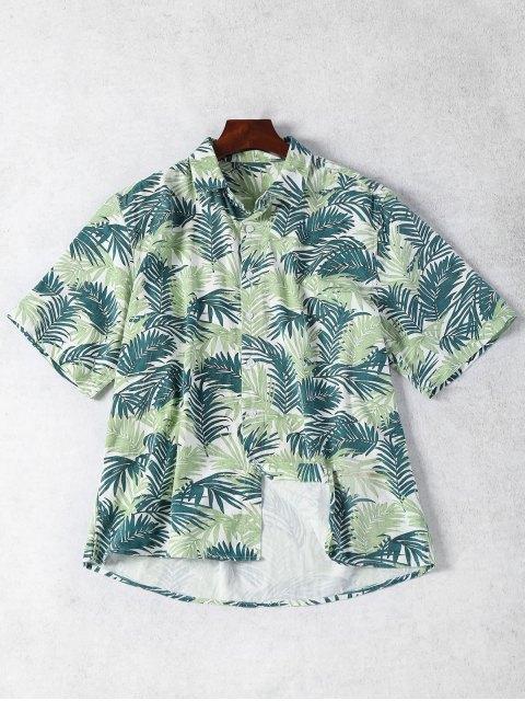 outfits Half Sleeve Leaf Print Denim Shirt - FLORAL XS Mobile