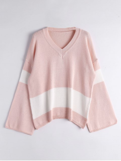 shops Flare Sleeve Two Tone Sweater - PINK ONE SIZE Mobile